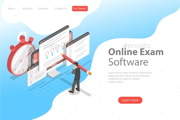 Isometric Flat Vector Landing Page Header - Computers Technology