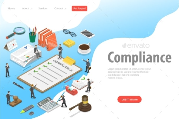 Flat Isometric Vector Landing Page - Concepts Business