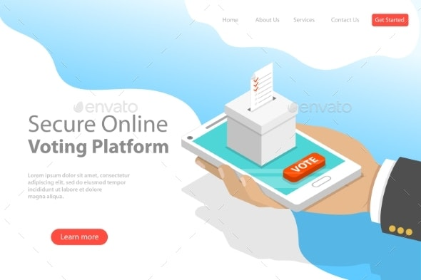 Flat Isometric Vector Landing Page Voting Template - People Characters