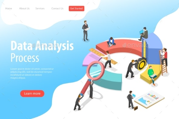 Flat Isometric Data Analysis Landing Page Template - Concepts Business
