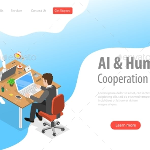 Flat Isometric AI and Human Landing Page Template