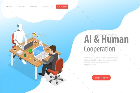 Flat Isometric AI and Human Landing Page Template - Concepts Business