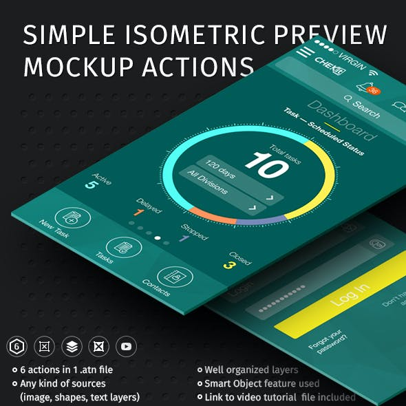 Simple Isometric Preview Mockup Actions