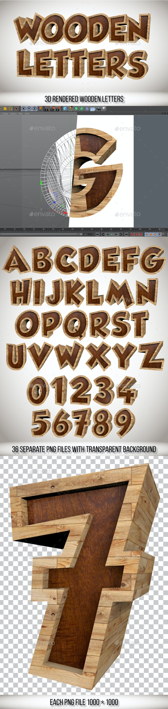 3D Wooden Letters and Numbers - Text 3D Renders