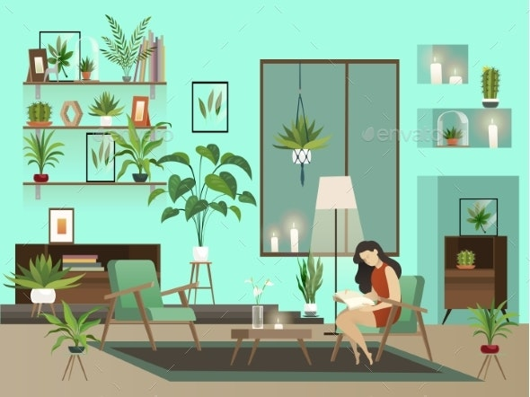 Cozy Room. Vector Night Living Room with Lone - Objects Vectors