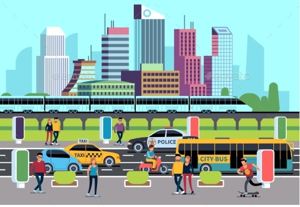 City Street People and Transport. Car Bus Bike - Miscellaneous Vectors