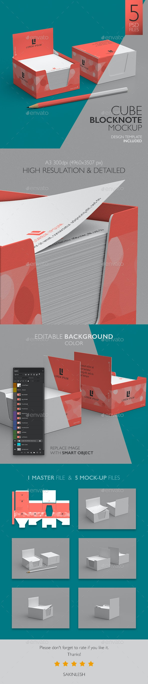 Cube Block Note Mock-Up - Stationery Print