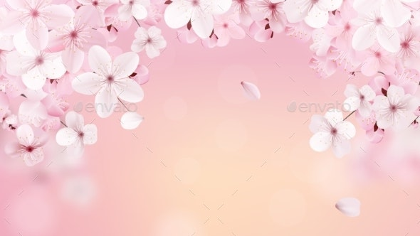 Beautiful Print with Blossoming Sakura Flowers - Flowers & Plants Nature