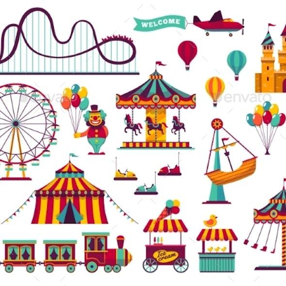 Amusement Park Attractions Set. Carnival Amuse