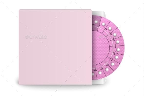 Vector Realistic Packaging of Birth Control Pills - Health/Medicine Conceptual