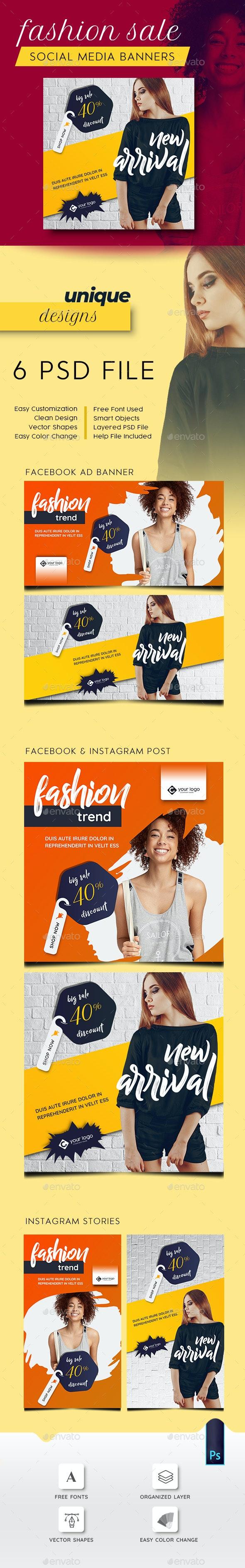 Fashion Facebook and Instagram Banner Set - Social Media Web Elements
