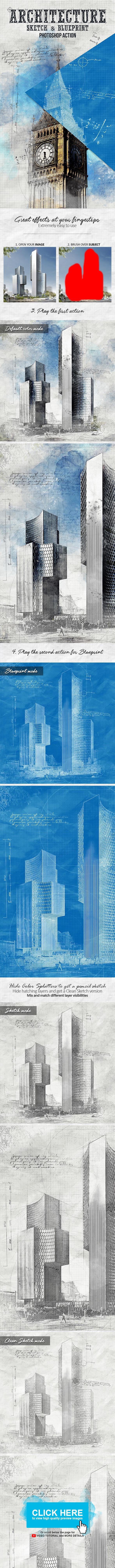 Architecture Sketch and Blueprint Photoshop Action - Photo Effects Actions