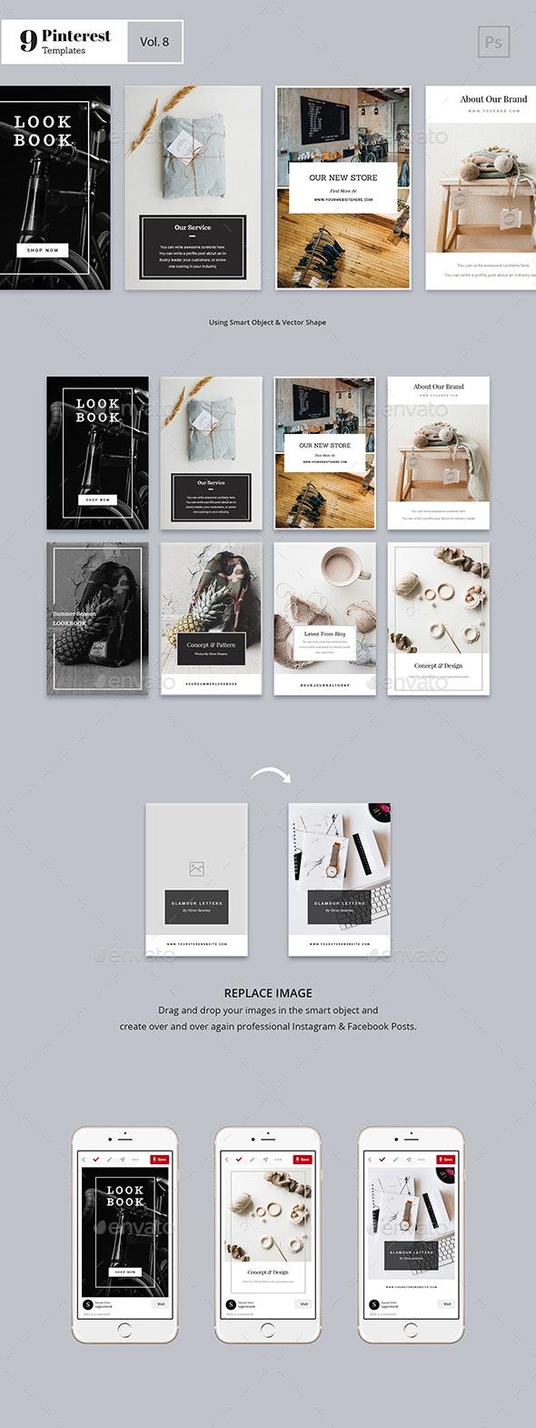Pinterest Templates Vol. 8 - Social Media Web Elements