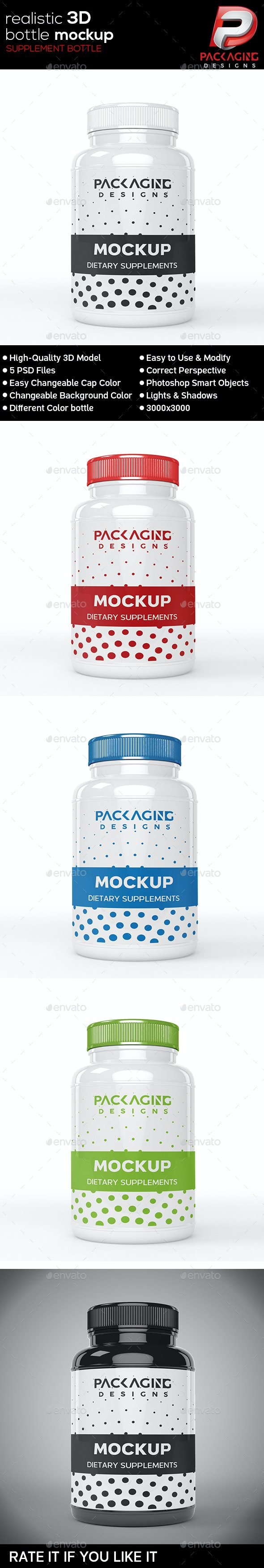 Realistic 3D Supplement Bottle Mock-Up-4 - Packaging Product Mock-Ups