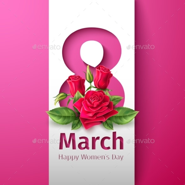 Vector 8 of March Womens Day Rose Flower - Miscellaneous Vectors