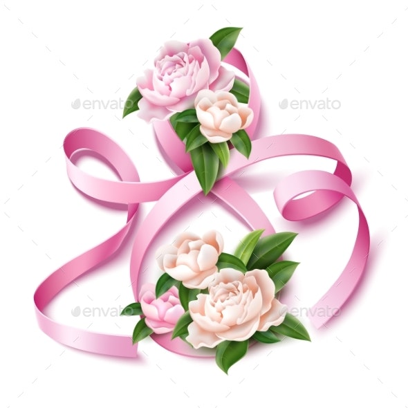 Vector 8 of March Eight Silk Ribbon Peony Flower - Miscellaneous Vectors