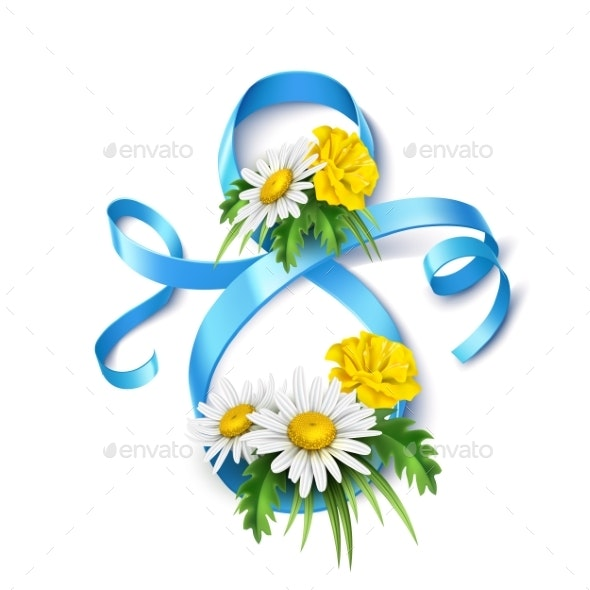Vector 8 of March Eight Silk Ribbon Daisy Flower - Miscellaneous Vectors