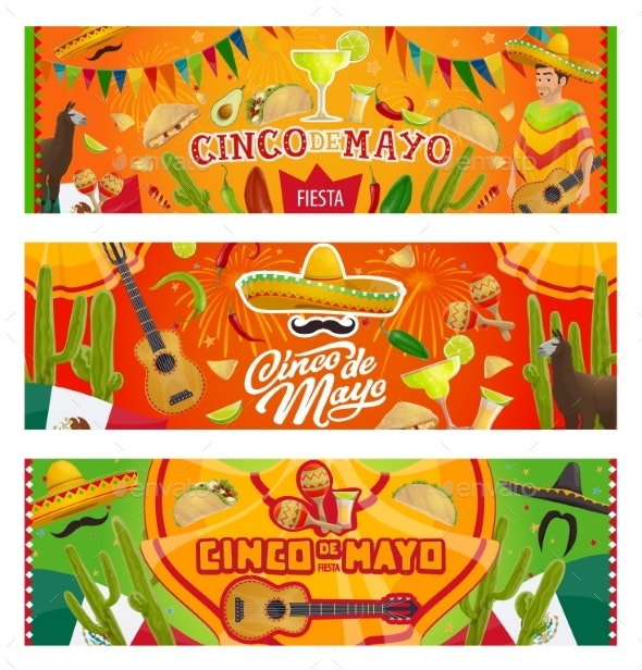 Cinco De Mayo Mexican Sombrero, Guitar, Cactus - Seasons/Holidays Conceptual