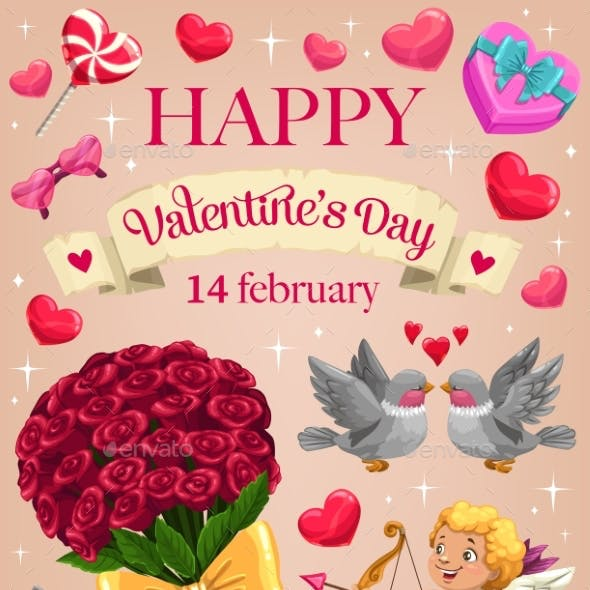 Cupid, Love Hearts and Flowers. Valentines Day
