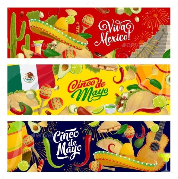 Cinco De Mayo Mexican Fiesta Sombreros and Guitar - Seasons/Holidays Conceptual