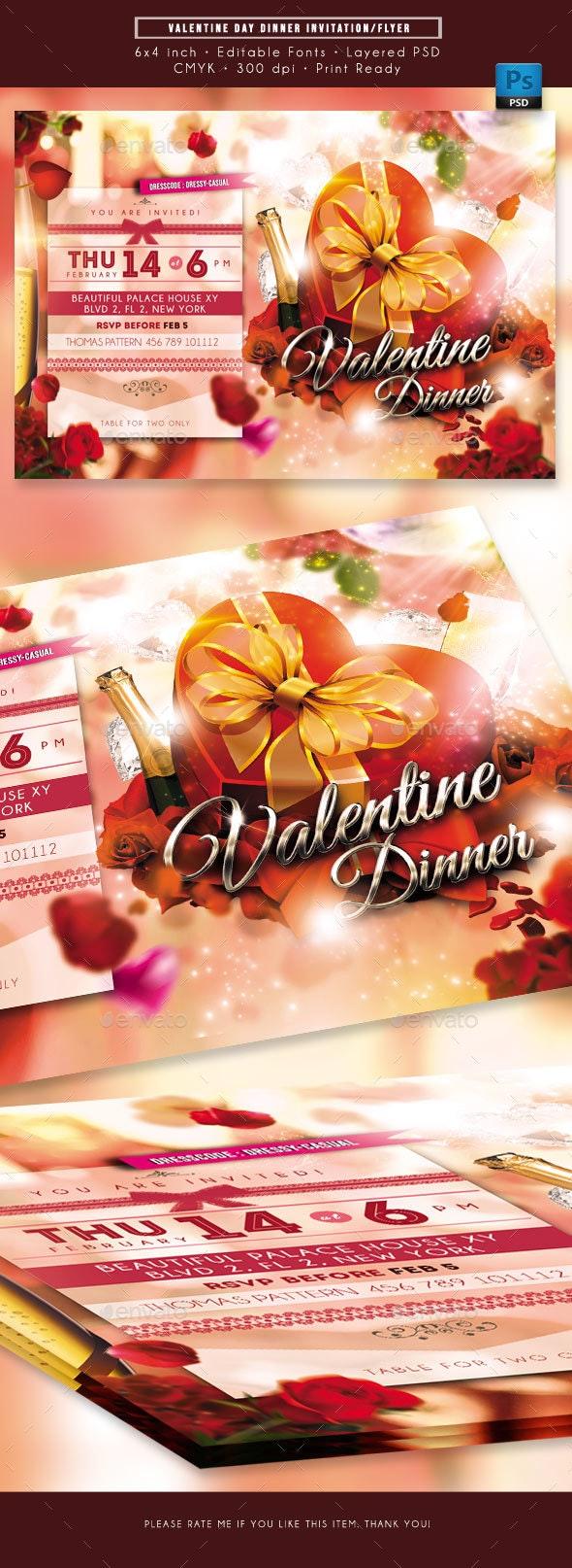 Valentine Day Dinner Invitation - Invitations Cards & Invites