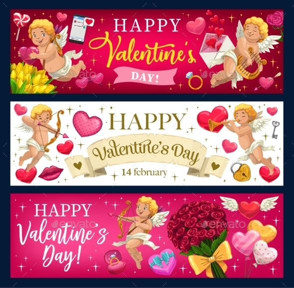 Valentines Day Hearts, Flowers and Cupids - Valentines Seasons/Holidays
