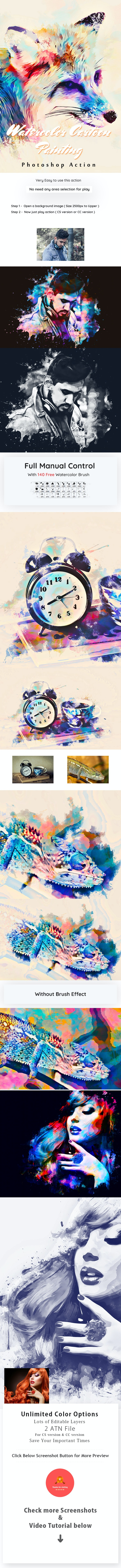Watercolor Cartoon Painting Action - Photo Effects Actions