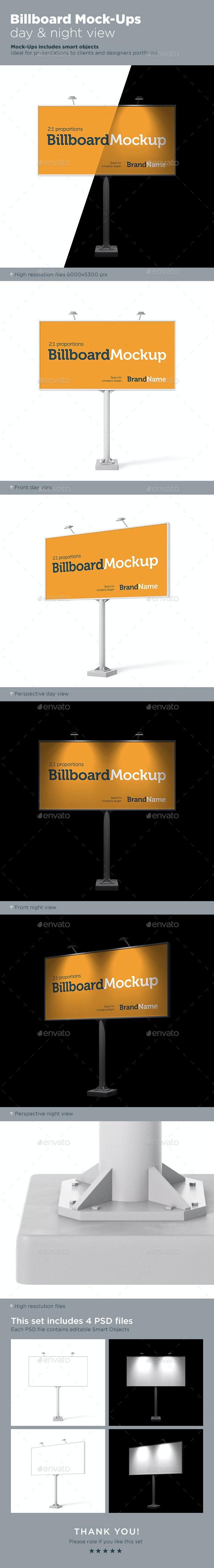 Billboard Mock-Ups. Day & night view - Signage Print