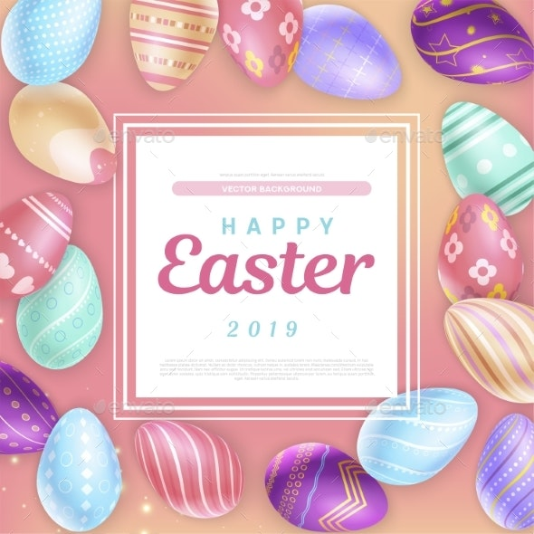 Easter Eggs Around Square with Inscription - Miscellaneous Seasons/Holidays