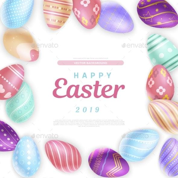 Easter Eggs Around Inscription - Miscellaneous Seasons/Holidays