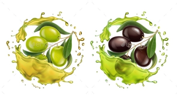 Olive Oil Splash Realistic Vector Set - Food Objects