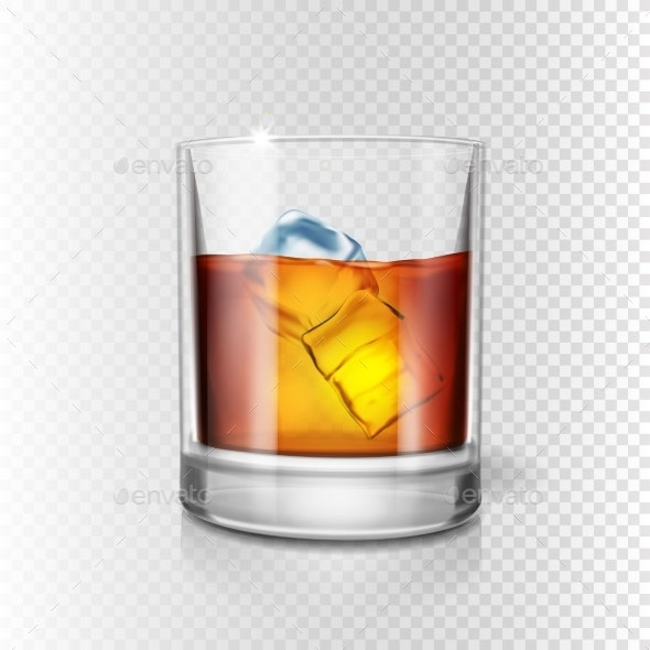 Transparent Realistic Glass of Whiskey and Ice - Food Objects