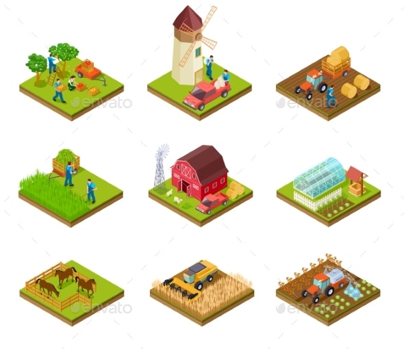 Isometric Farm. Farmer Tractor Lorry and Harvester - Buildings Objects
