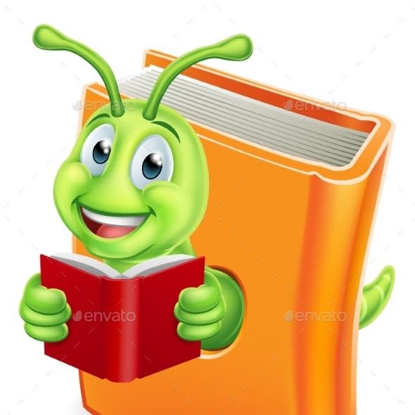 Bookworm Caterpillar Worm in Book Reading