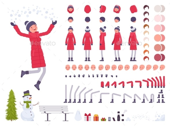 Stylish Woman in Red Down Jacket Clothes Character - People Characters