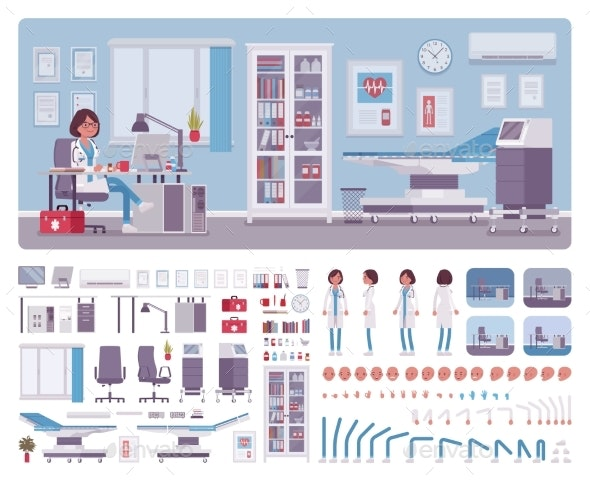 Female Doctor in General Practitioner Office - People Characters