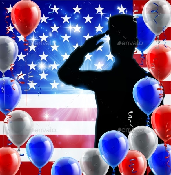 Saluting Soldier American Flag Balloon Background - Miscellaneous Seasons/Holidays