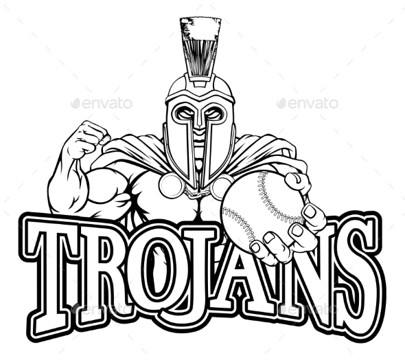 Spartan Trojan Baseball Sports Mascot - Sports/Activity Conceptual