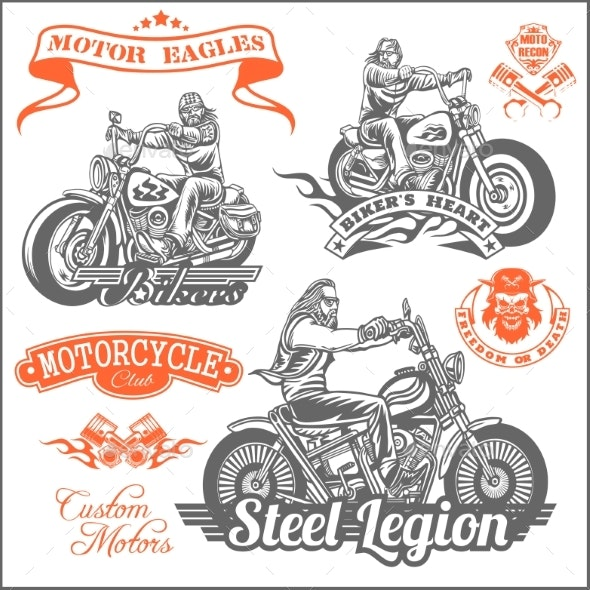 Set of Vintage Motorcycle T-Shirt Prints Emblems - Miscellaneous Vectors