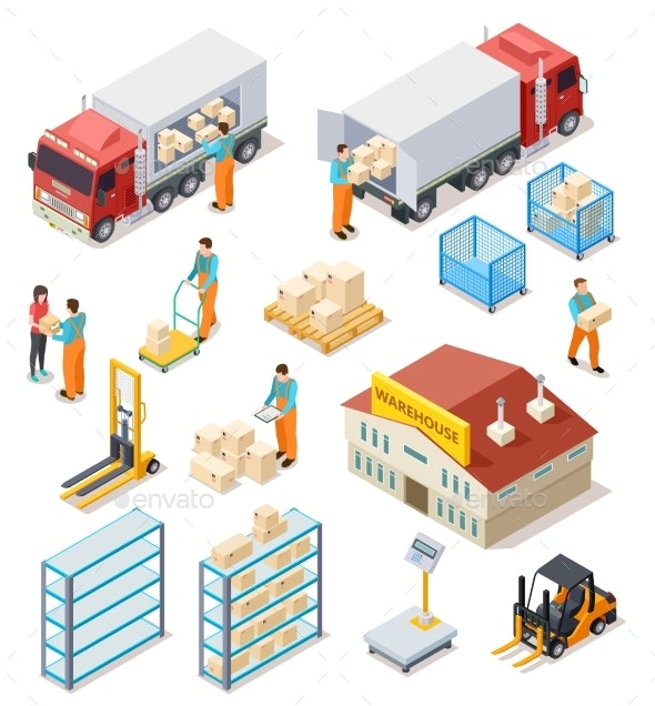 Delivery Isometric. Logistic, Distribution - Miscellaneous Vectors