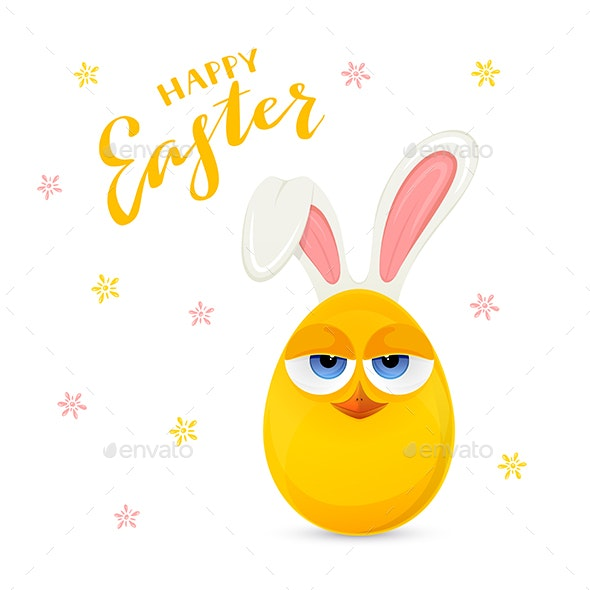 Yellow Easter Egg with Rabbit Ears - Animals Characters