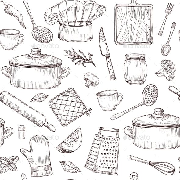 Kitchen Tools Seamless Pattern Sketch Cooking