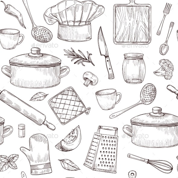 Kitchen Tools Seamless Pattern Sketch Cooking - Miscellaneous Vectors
