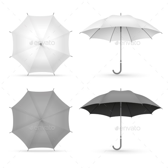 White and Black Realistic Umbrellas Isolated - Man-made Objects Objects