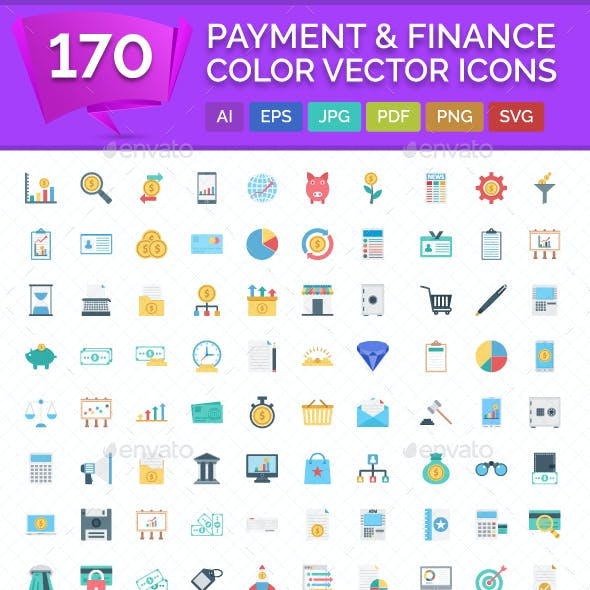 170 Payment and Finance Color Vector Icons