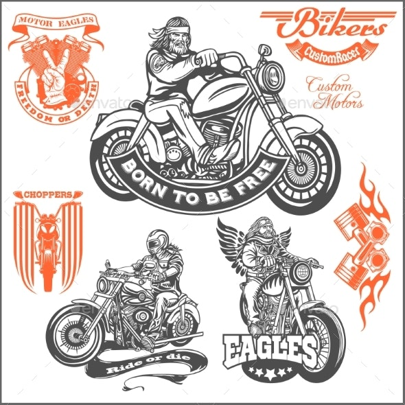 Set of Vintage Motorcycle Emblems - Miscellaneous Vectors