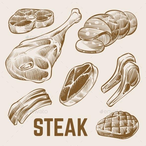 Hand Drawn Steak Vector Set
