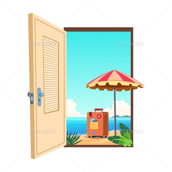 Welcome To the Beach Cartoon Vector Template - Travel Conceptual