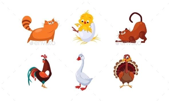 Cartoon Farm Animals and Pets Set - Animals Characters