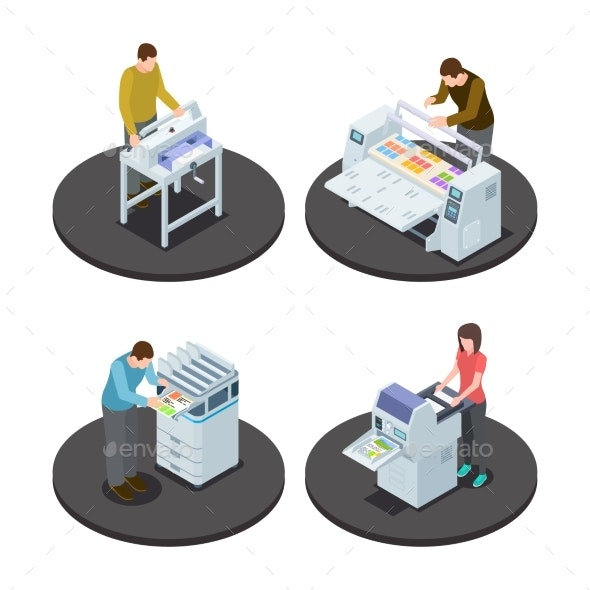 Isometric Printing House Icons Concept - People Characters